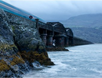 The dawn train on Barmouth bridge